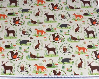 Woodland Animals Beige Brown Linen Look High Quality Fabric Material Sold By The Metre