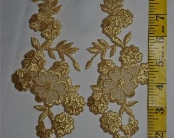 Gold Metallic Iron On Applique Set