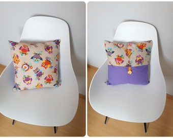 Patterned multicolored OWL Cushion cover