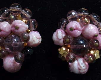Pink Clip-on Earrings from West Germany