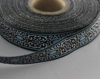 22 mm blue authentic Jacquard ribbon (0.86 inches) - woven ribbon, authentic ribbon - Sewing - Scroll Jacquard trim