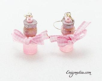 Lovely earrings with pink mini bottles
