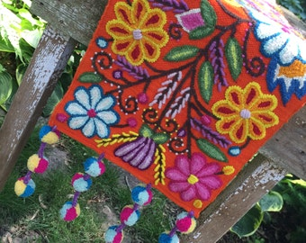 Hand Embroidered Wool Table Runner.