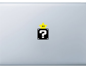 Macbook Mario Question Box With Yellow Star Vinyl Decal