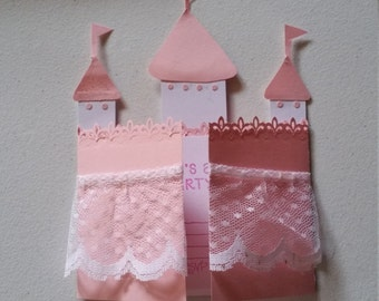 Set of ten handmade Very cute castle birthday cards