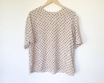 Vintage silk short sleeve blouse shirt top tunic