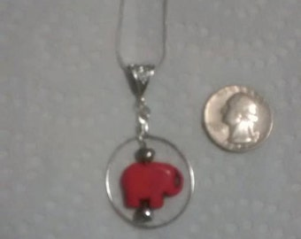 Pink Jade (Howlite) Elephant with Chain
