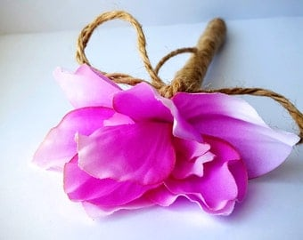 Bright Pink Fuchsia Jute-wrapped Rustic Wedding Guest Book Handmade Flower Pen ITEM 133