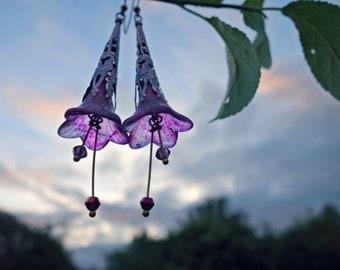 Statement Earrings, Purple Earrings, Long Earrings, Flower Earrings, Amethyst Jewelry, Gift For Her, Vintage Style, Bohemian Boho, Swarovski