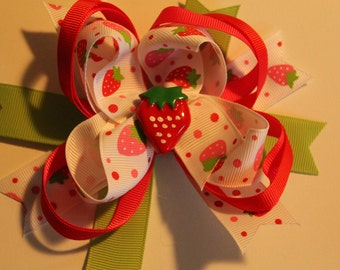 Strawberry boutique hair bow