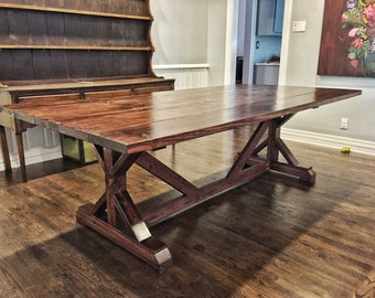 Farmhouse Wood Table, Reclaimed Wood, Barnwood, Outdoor Table, Dining Table, Patio Table, X-style table, plank, wooden, Rustic