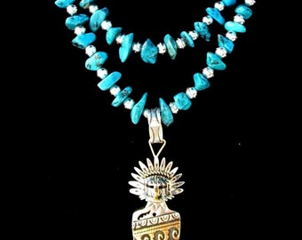 Navajo Silver and Turquoise Necklace Kingman STERLING 14k Gold R Singer *GR156