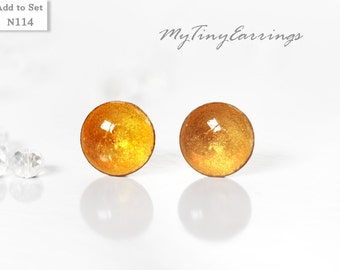 Stud Earrings 6mm Yellow Round Tiny Butterscotch Color Epoxy Resin Mini Gift for Her - Gold Plated Stainless Steel Posts 114