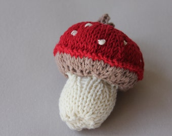 Hanging toadstool decoration, knitted decoration