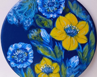 Floral in blue and yellow