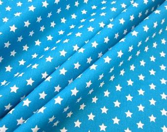 cotton fabric stars aqua white 9mm