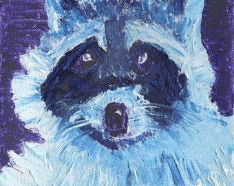 Raccoon, Original Oil Painting,