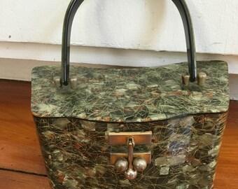 Retro Art Deco Tinseled Lucite 1950's Handbag