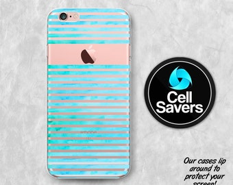 Watercolor Stripes Clear iPhone 7 + iPhone 6s Case iPhone 6 Case iPhone 6 + iPhone 6s Plus iPhone 5c iPhone 5 SE Clear Case Blue Paint Cute