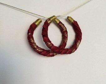 Chinese brocade hoop earrings