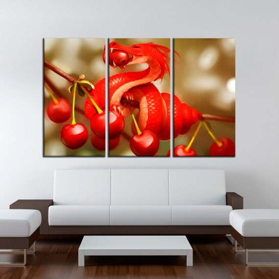extra large wall art red dragon painting 3 by largeartcanvas. Black Bedroom Furniture Sets. Home Design Ideas