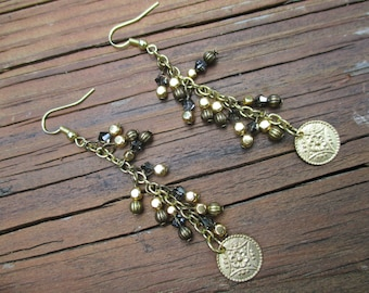 SALE--Dangle cluster earrings, coin charm, with a classic style, mixed gold and bronze to give you more options!