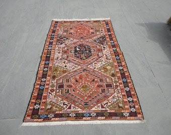 Persian hand woven and brocaded sahseven rug,rug with noah's ark design,animal designed rug,79 x 46 inches