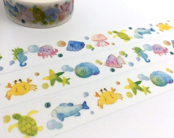 Colorful ocean world tape 10M tropical fish crab sea turtle octopus star fish shell washi tape Watercolor sea world sticker tape scrapbook