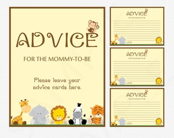Safari Baby Shower Advice for Mommy to Be - Baby Shower Card & Sign - Advice for Mom Animals / INSTANT DOWNLOAD  PRINTABLE Neutral Bs0001-N