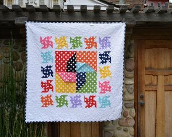 Baby Quilt/ Bright Poka Dot Pinwheels