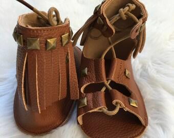 Brown studded gladiators