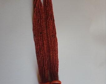 1970's Seed bead ORANGE chunky necklace