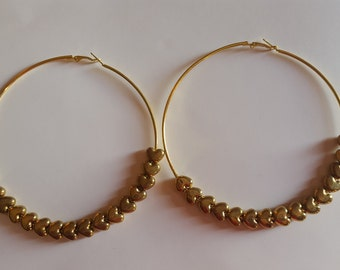 Brass hoops with hearts Earrings