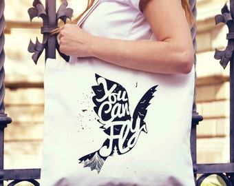 You Can Fly Tote Bag | Shopping Bag | Reusable Market Bag | Birthday Gift For Her & Him | Style Shopper Bag | Beach Grocery Bag