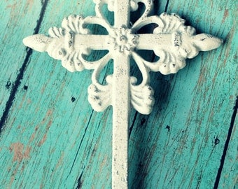Cast Iron Wall Cross White Distressed Shabby