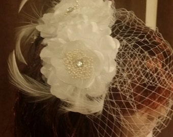 White flowers Birdcage Wedding Veil