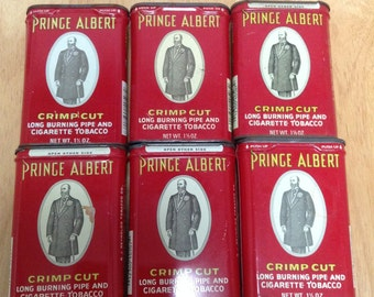 Prince Albert Tobacco 1.5oz Cans Vintage Tin Set of 6 Cans