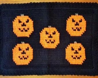 Halloween Pumpkin Crocheted Placemats