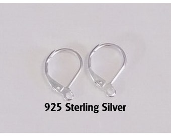 925 Sterling Silver Leverback Ear Wires, Ear Wire Hooks , Jewelry Supply, Ear Wires with Loop (F-010)