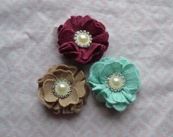 3 pack baby hair clips, toddler hair clips, child hair clips, mint baby hair clip, tan baby hair clip, maroon baby hair clip