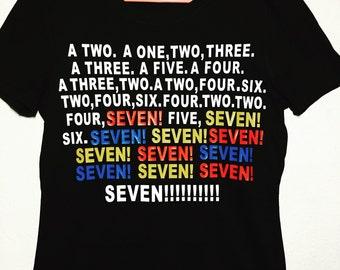 Friends TV show- tee shirt- Seven tee-shirt- SEVEN- Monica