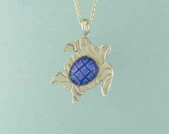 """Tropical Turtle w/Dk. Blue Kalaidescope Dichroic Glass in Fine Silver (.999)  1  1/8"""" Pendant Unique Handcrafted 2750"""