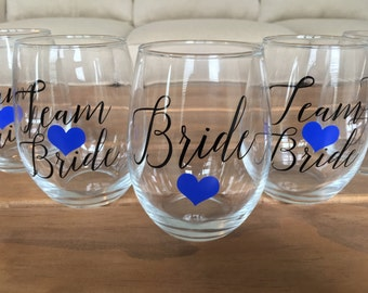 Team Bride Glasses, Bridal Party Wine Glasses, Stemless Wine Glasses, Bridesmaid Gift, Bridal Party Gifts, Bridesmaid proposal, Personalize