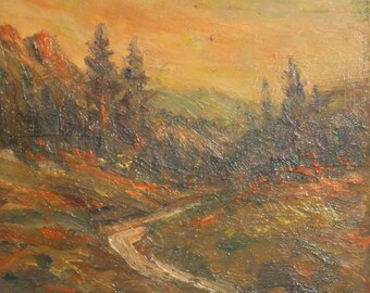 Vintage landscape oil painting impressionism