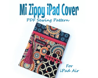 iPad Air cover PDF pattern. Mi Zippy iPad cover. PDF download. Tablet case sewing pattern and tutorial #
