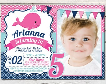 Whale Nautical Girl Printable Birthday Photo Invitation - DIY - PDF & JPG Files only