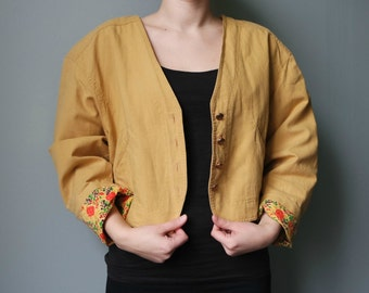 Vintage Women's Yellow Jacket, Cropped Jacket, Yellow Blazer, 1980s