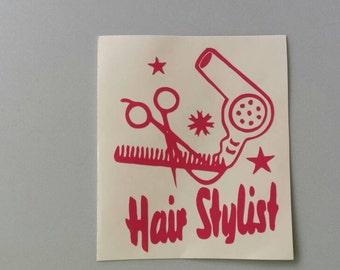 HAIR STYLIST Vinyl Decal .. Free Shipping .. Car Window Sticker Laptop Wine Glass Beer Mug Frame Sports Bottle Organizer