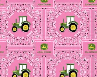 John Deere Pink Bandana Cotton from Springs Creative, farm, tractor, big wheels, farmer, feminine, girl