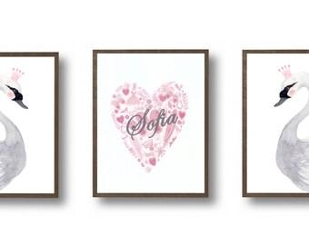 Nursery Print Set  - Girl Nursery Art - Pink and Gray - Nursery Decor, Kids Wall Art, Woodland nursery decor, nursery set, watercolor swan